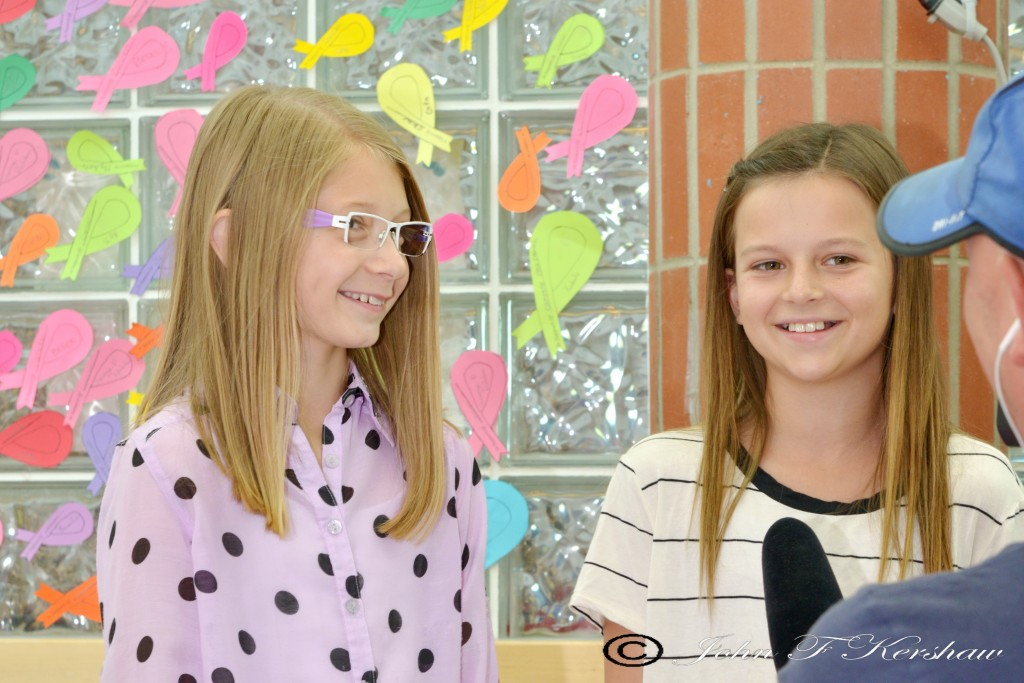 George P. Nicholson School Grade 6 students Morgan, 11 (left) and Emelyn (12) being interviewed by CTV Edmonton.